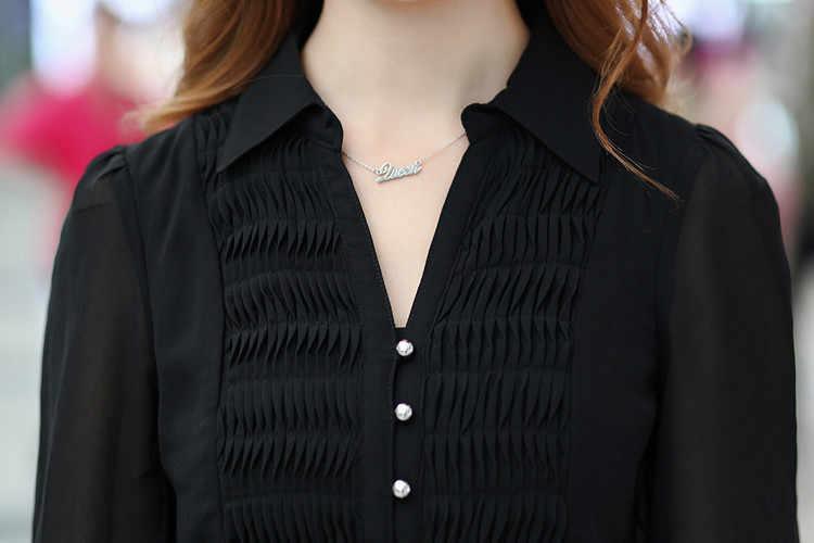 Летняя шифоновая блузка, рубашка с рукавом три четверти, Длинная женская блузка большого размера, Женская туника, топы черного и синего цвета размера плюс L-6XL, блузки