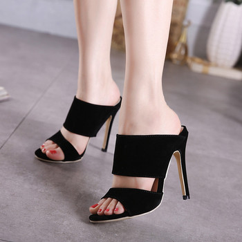 2018 HOT SALE Women Mules High Heels Slippers Womens Black Roman Gladiator Sandals Shoes Women Summer Pumps Thin Heel Sandals high heels