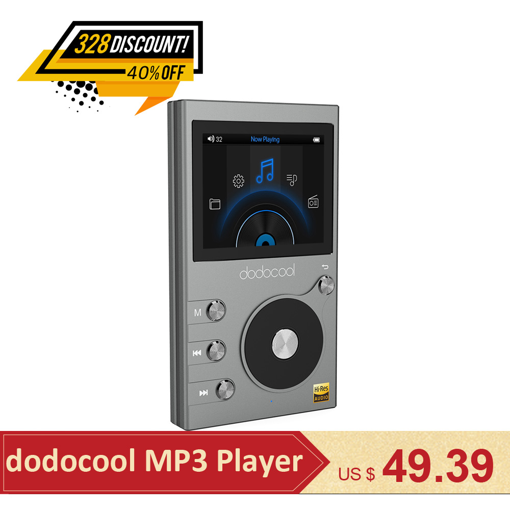 Dodocool 8 GB lossless HIFI Lecteur de Musique MP3 Player Support DSD 64 128 256 WMA lecteur audio Enregistreur FM Radio Extensible 256 GB TF