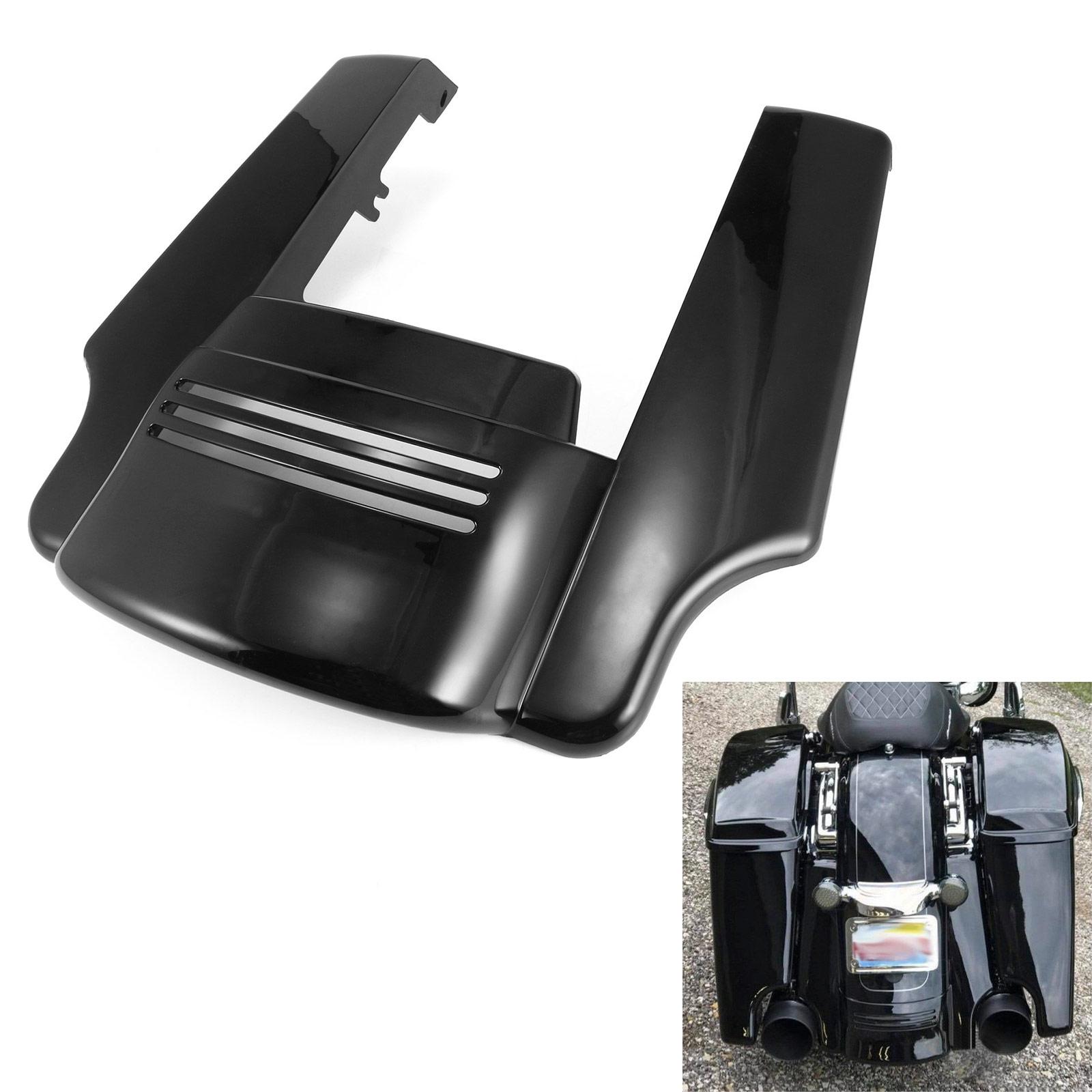 Motorcycle Mudguards 7 Rear Fender Extension Stretched Filler For Harley Electra Street Road Glide 2014 2015 2016 2017 5 gloss black rear fender extension stretched filler short for harley touring electra street glide road king 2014 2015 16 2017
