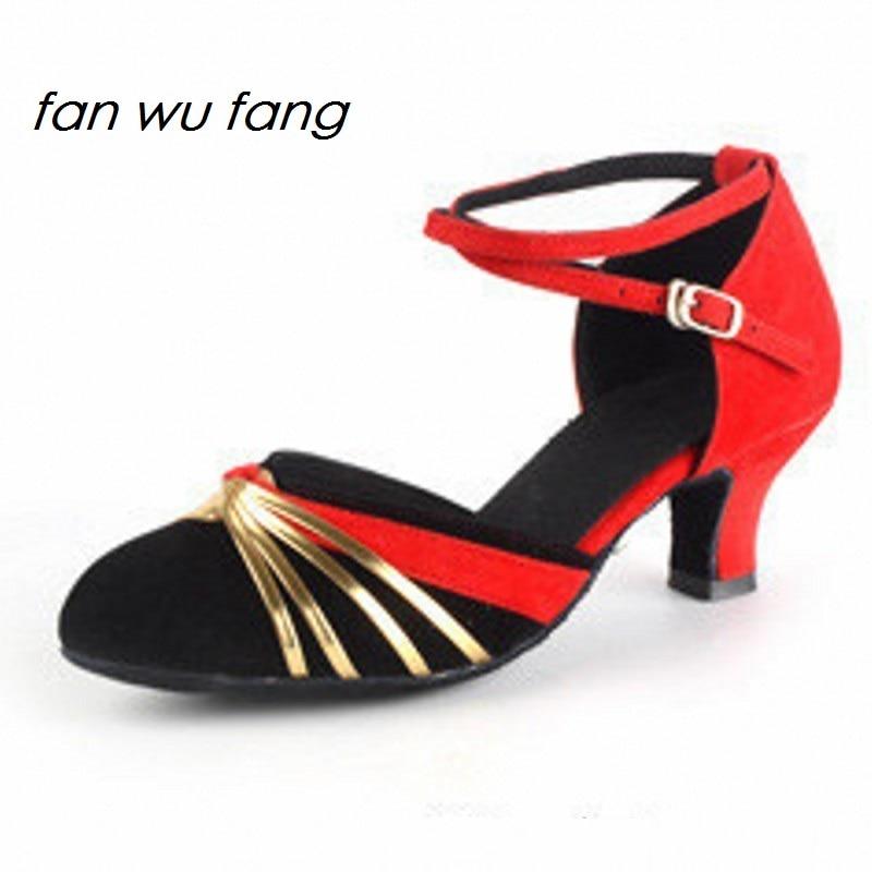 fan wu fang 2017 Nieuwe Collectie Hot Brand Satijn Latin Dansschoenen Dames Ballroom Professionele Schoenen Lage hak 5 CM 3 kleuren 819