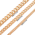 3.4-7mm wide flat chain 316L stainless steel necklace Gold Color faddish for Mens Chain Necklace jewelry