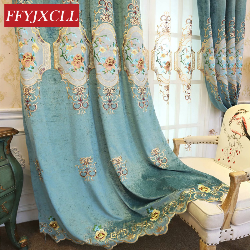 Europe Polyester Cloth Blackout Curtains For Living Room Luxury Quality Fine Embroidered Tulle Curtain For Bedroom Drapes