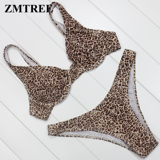 Zmtree 2017 High Cut Bikini Set Push Up Swimsuit Leopard Swimwear Underwire Beach Bathing Suit Strappy Biquini Maillot De Bain by Zmtree