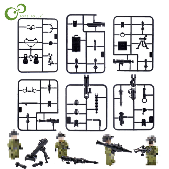 US $1 73 50% OFF|6 Sheets Military Gun Weapons Pack Army Soldiers Building  Blocks Arms City Police LegoINGly World War Series Mortar Toys GYH-in