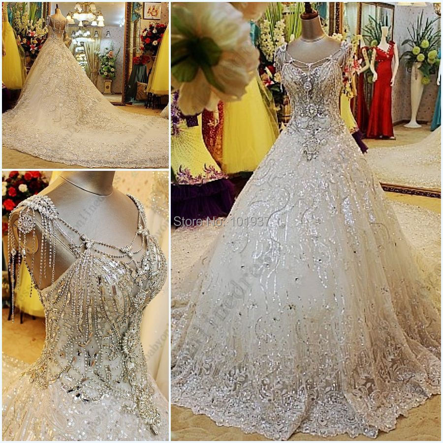 Buy luxury wedding gowns crystal beads for Custom wedding dress online
