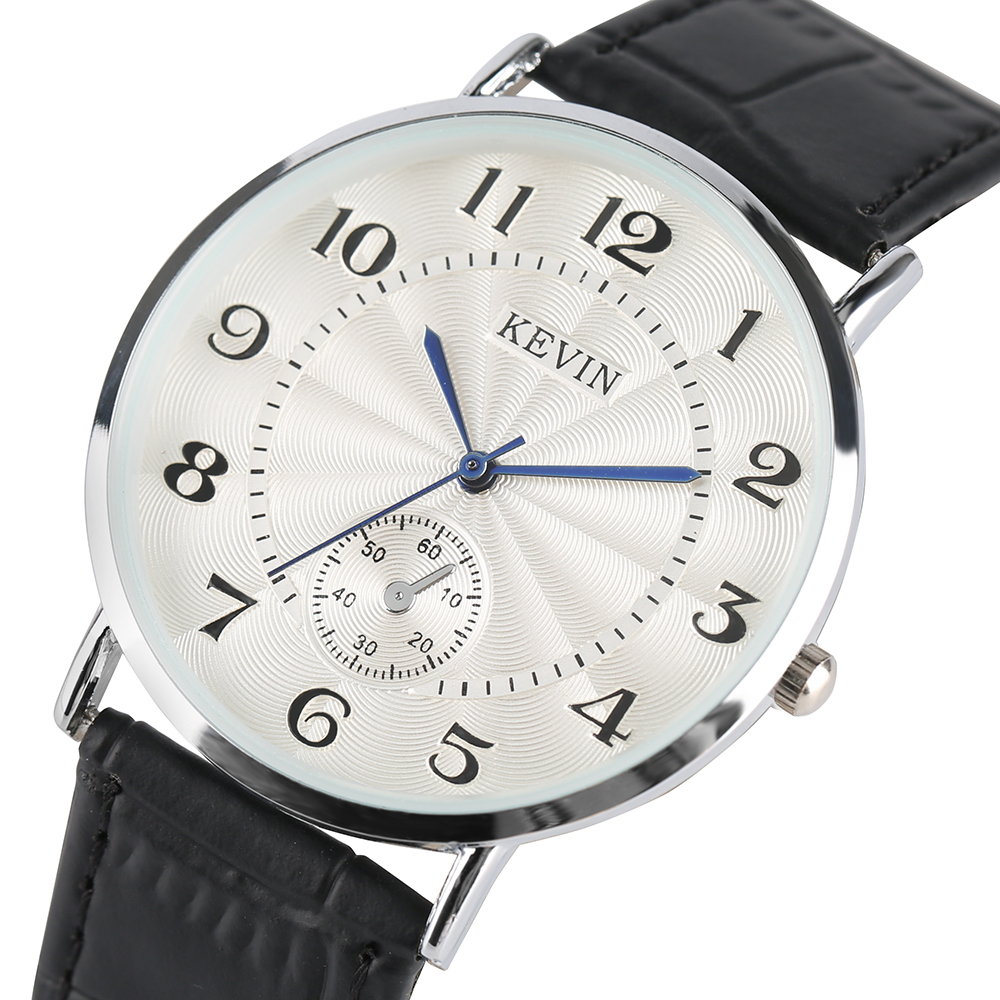 KEVIN Brand Watch Men Women Simple Analog Quartz Wristwatch Black/ White/ Brown PU Leather Stainless Steel Watches Lovers Gift