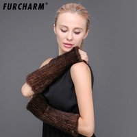 100% Mink Fur Arm Warmer Women Autumn Winter 30cm Mittens Real Fur Knitted Arm Sleeves Long Mink Fur Gloves Without Fingers