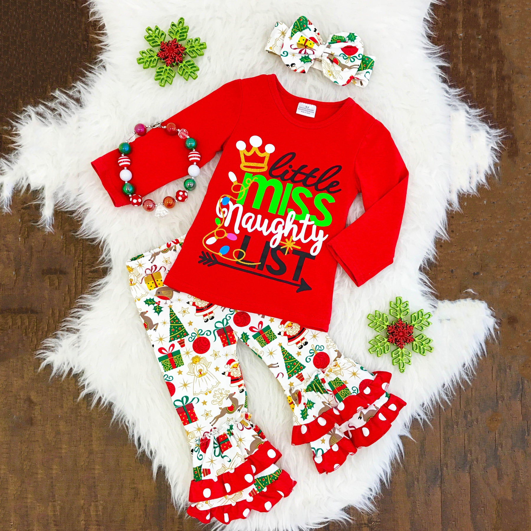 все цены на Toddler Kids Baby Girls Flower Top Blouse Pants Leggings Outfits Set Clothes Tops Print + Personality Flare Pants Christmas Set