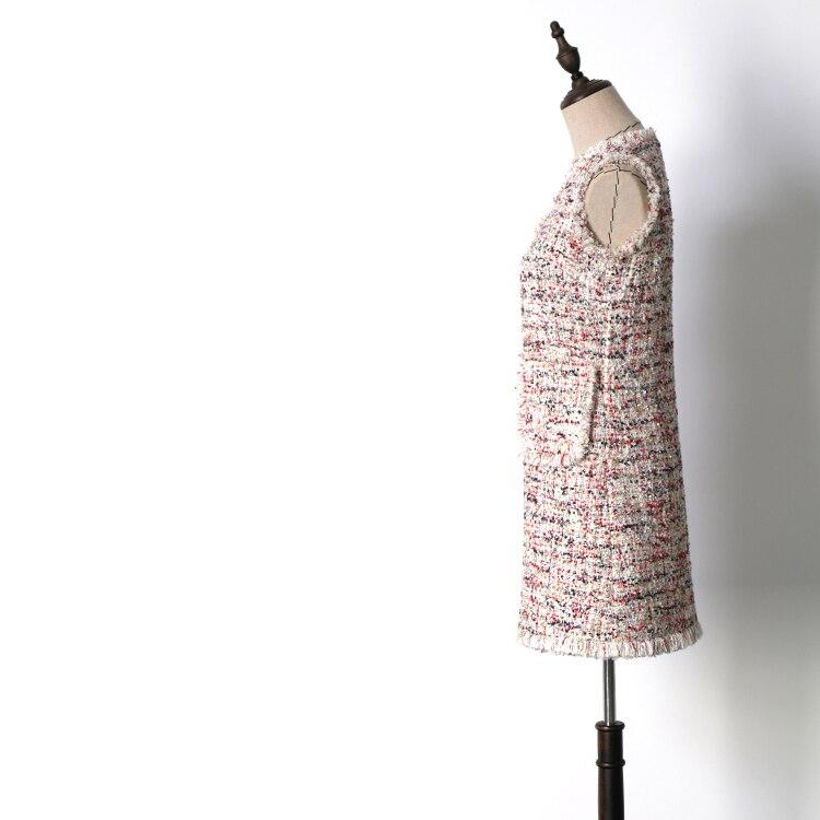 2018 Fringe See Robe Mode Gland Élégante Femmes Jacquard Sans Manches Habille V La cou Tweed Automne Nouvelle Chart poche De Multicolore 2 Hiver wCqwX1U