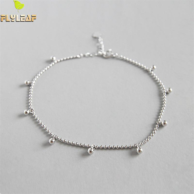 Flyleaf 925 Sterling Silver Anklets For Women Simple Geometric Beads Ankle Leg Fine Jewelry Enkelbandje High Quality Girl Gift