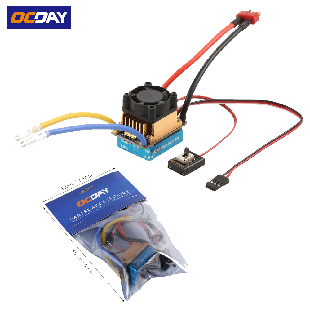 1pcs OCDAY 2-3 Lipo/6-9NiMH 60A Dual Mode Brush Speed Controller ESC Regulator With Cooling Fan For 1/10 RC Car