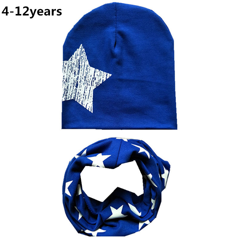 New Autumn Winter Cotton Big Star Printed Children Hat Scarf Set  Girls Boys Beanies Caps Toddler Child Cap Scarf For 4-12years(China)