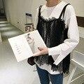 [soonyour] 2017 Korean spring new fashion Slim fashion lace sets of white T-shirt A001370