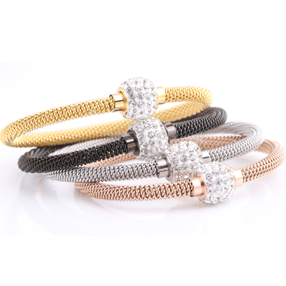 Fashion High quality Charm Chic valentine Gift Jewelry Stainless Steel Gold Women Distort Bracelets Bangles