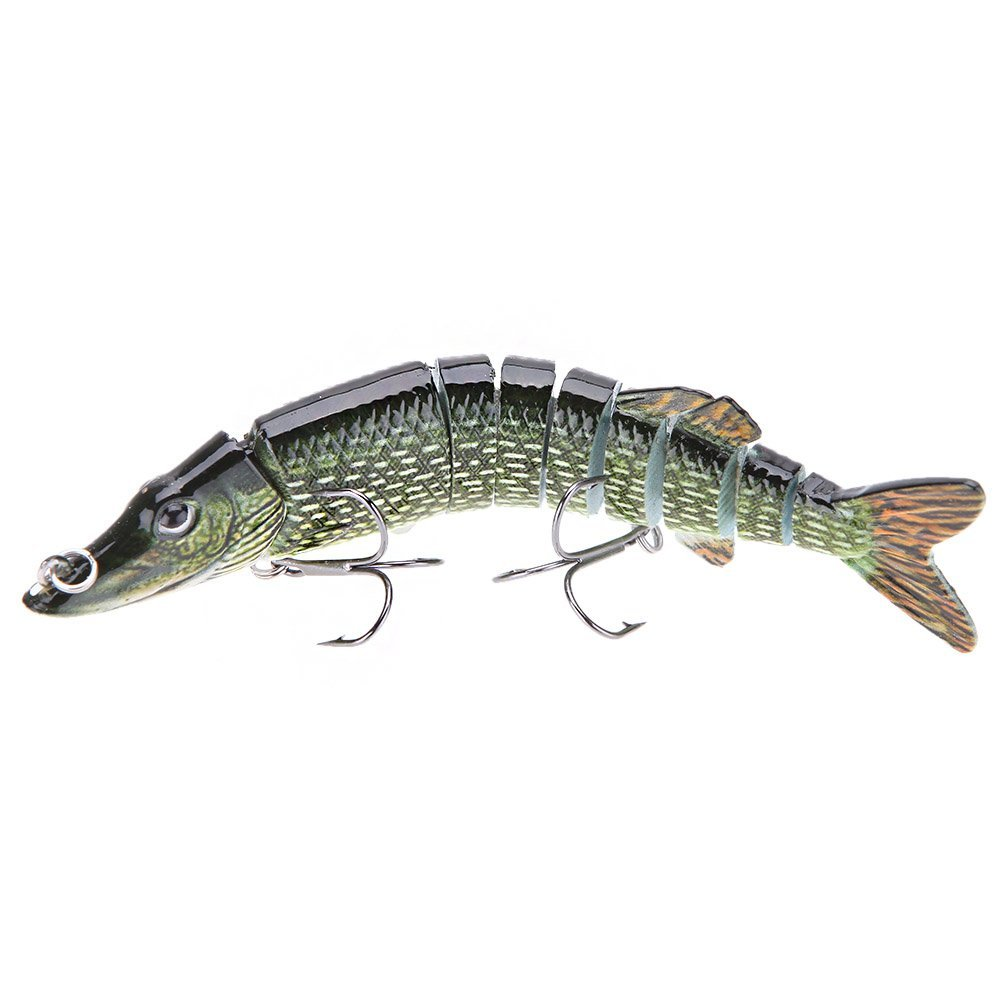 "5/"" Multi-jointed 9-segement Pike Muskie Plastic Fishing Lure Hard Bait RF T Nt"