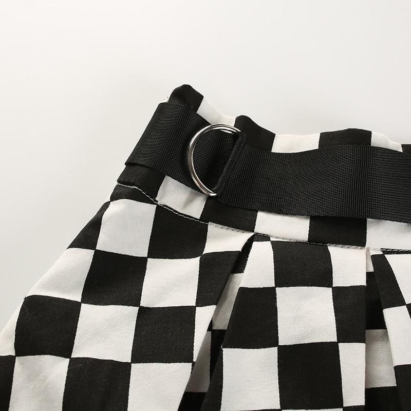 11Sweetown Korean Fashion Checkerboard Pleated Skirts Womens Sashes High Waist Zipper Cotton Short Skirt Woman Summer 2018 Skirts