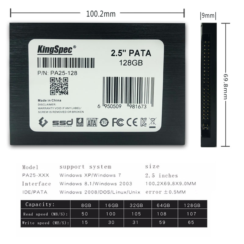 Kingspec 2.5 inch PATA 44pin IDE hd ssd 16GB 32GB 64GB 128GB 4C TLC Solid State Disk Flash Hard Drive IDE for Notebook Desktop