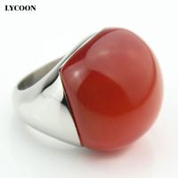 2015 Fashion 316L Stainless Steel Opal Jewelry Ring With Red Cat Eye Stone For Woman Luxury