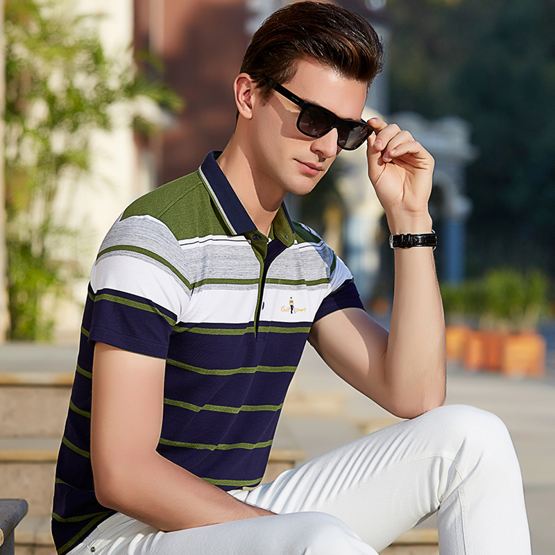 2018 Spring Summer Brand Clothing New   Polo   Shirt Men Business & Casual Striped Male Clothes Short Sleeve Breathable Plus Size