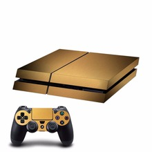 New brushed finishing Gold Decal PS4 Skin Sticker For Sony Playstation 4 PS4 Console +2Pcs Controllers 5 colors