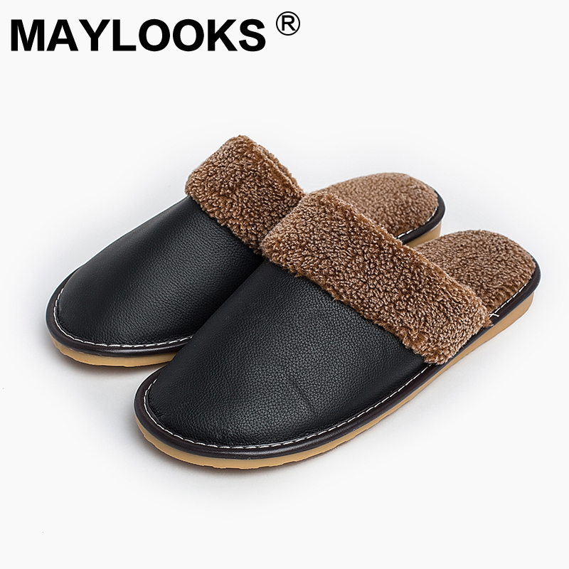 Men's Slippers Winter genuine Leather Thick With Plush Home Indoor Non-slip Thermal Slippers 2018 New Hot Sale Maylooks M-8812 hot sale m