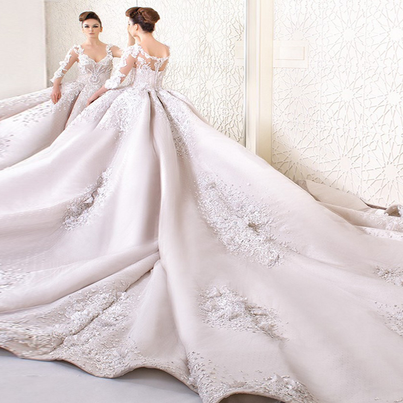 Luxury Ball Gown Cathedral Train Taffeta Bridal Gown