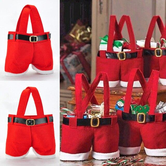 Bolsa de dulces de Navidad creativa bolsa de Navidad suministros de decoración de Navidad bolsa de pantalones de Santa para regalo de caramelos para niños regalo
