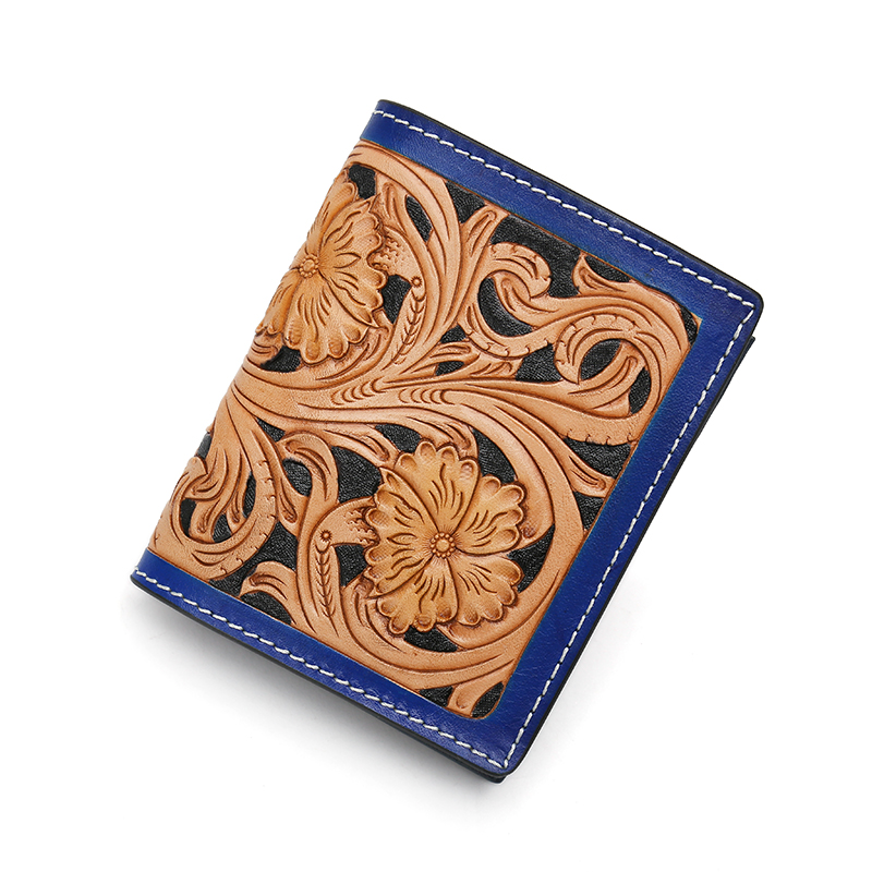 New Design Handmade Carve Flower Leather Wallet For Male Women Genuine Cow Leather Fashion Slim Purse Mens Wallets Credit Cards 2087 women new fashion long hasp wallet cute purse for juniors flower pattern design magnetic snap closure credit store