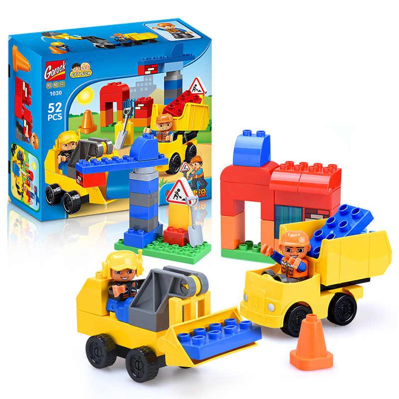 GOROCK 52 шт. городской инженерный автомобиль большие строительные блоки Совместимость с legoingly Duplo экскаватор Большой DIY Кирпичи игрушки для детей