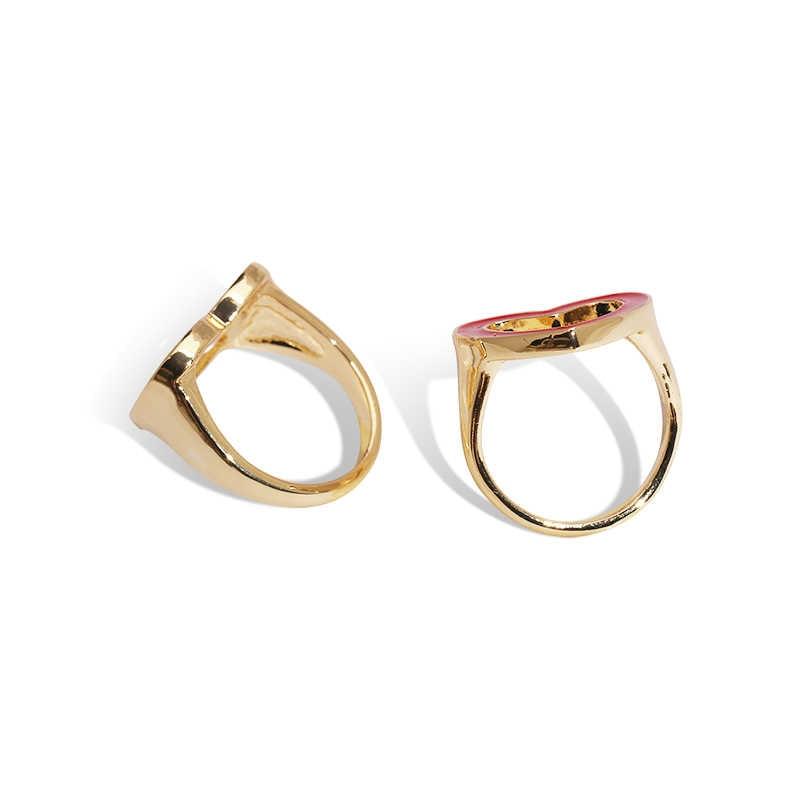 JUJIA ผู้หญิงเกาหลีหัวใจทองแหวนสำหรับเครื่องประดับงานแต่งงานของผู้หญิงทองแดงแหวน Midi