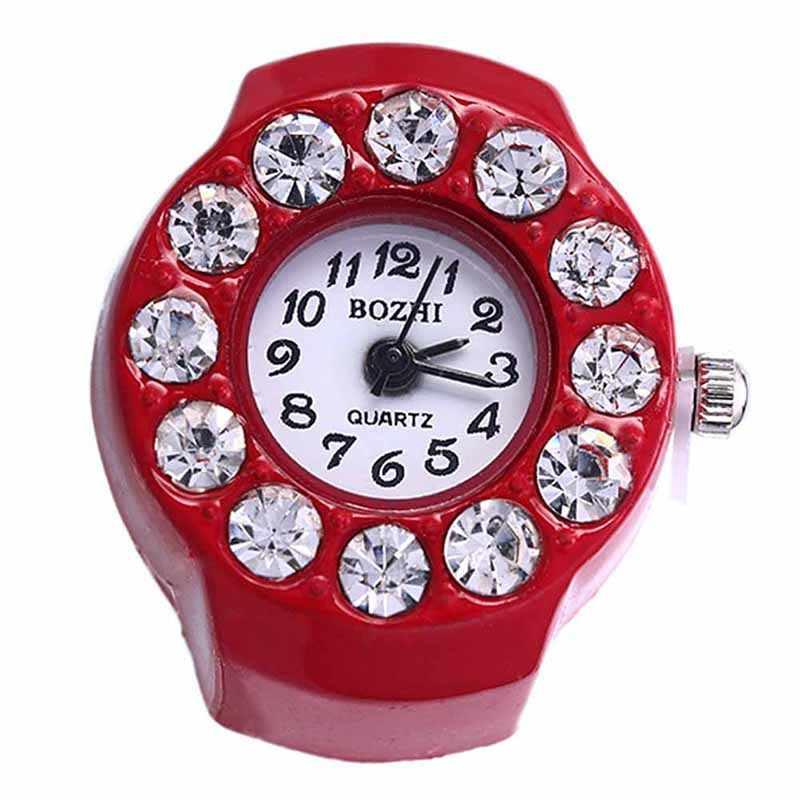 נשים אופנה שעונים הפלדה העגול אלסטיים קוורץ שעונים ילדה אצבע טבעת שעון נשים