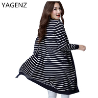 YAGENZ Plus Size 4XL Women Knitted Coat Spring Autumn Korean Loose Stripe Sweater Cardigan Long Coat
