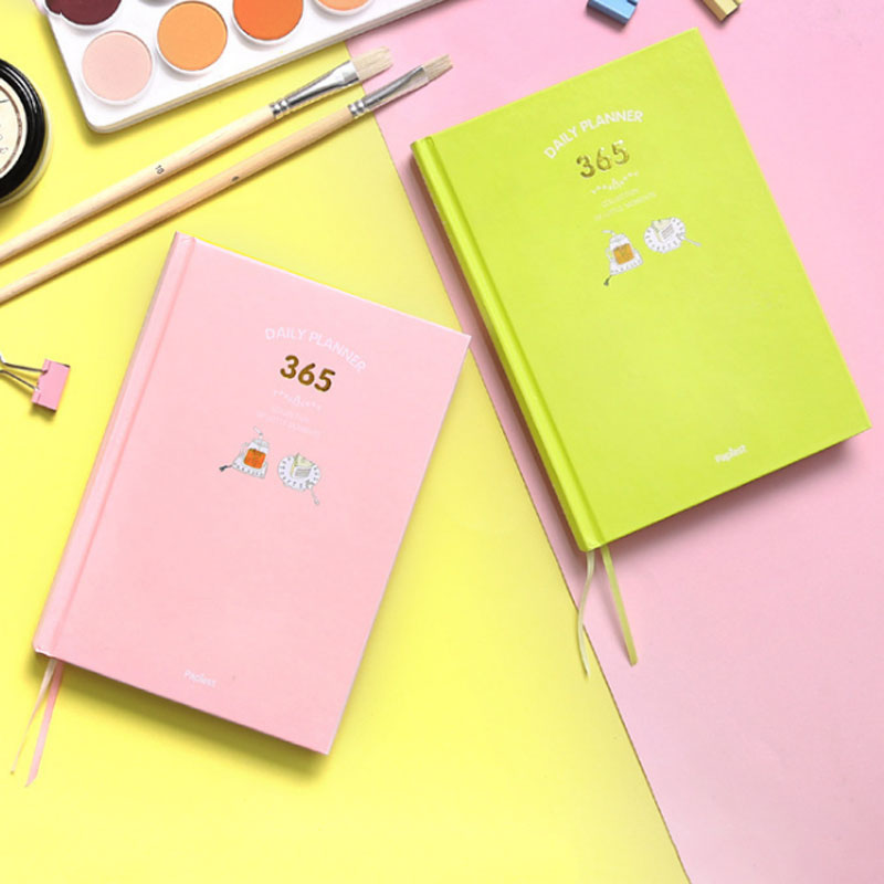 2018 New Korean Cute 365 Planner Notebook Daily Weekly Monthly Yearly Happy Plan Agenda Schedule Day Journal Diary Notebook A5 new 2018 cute 365 planner notebook daily happy weekly monthly planner agenda day plan notebooks journal diary stationery a5