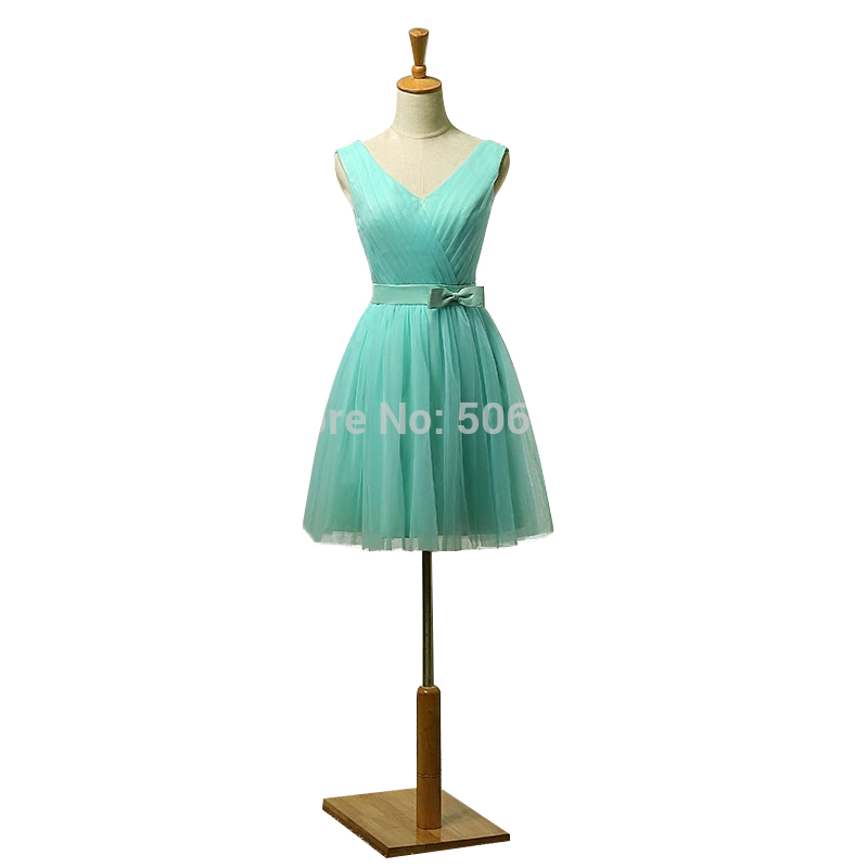 2017 New Mint Green Short V neck Women Bridesmaid Dresses Cheap Prom ...