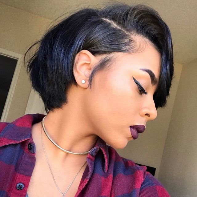 Short Lace Front Brazilian Remy Hair Wigs 1
