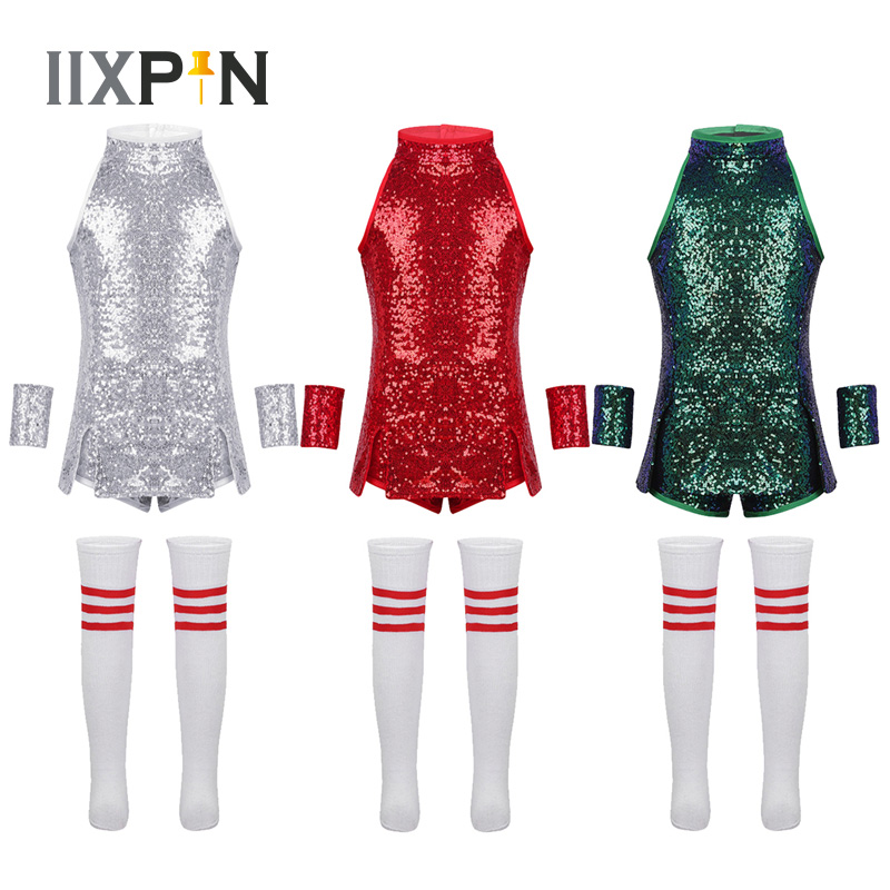 IIXPIN Kids Hip Hop Dance Costume Girls Jazz Street Dance Clothing Cheerleading Shiny Sequins Tops Shorts Wrist-Sleeves Socks