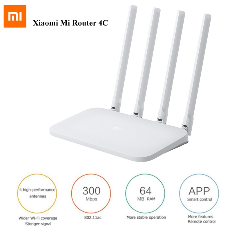 Xiaomi Mi Router 4C 4 Antennas 802.11n B/g/n 2.4G 300Mbps 64MB ROM APP Control WiFi Wireless Router