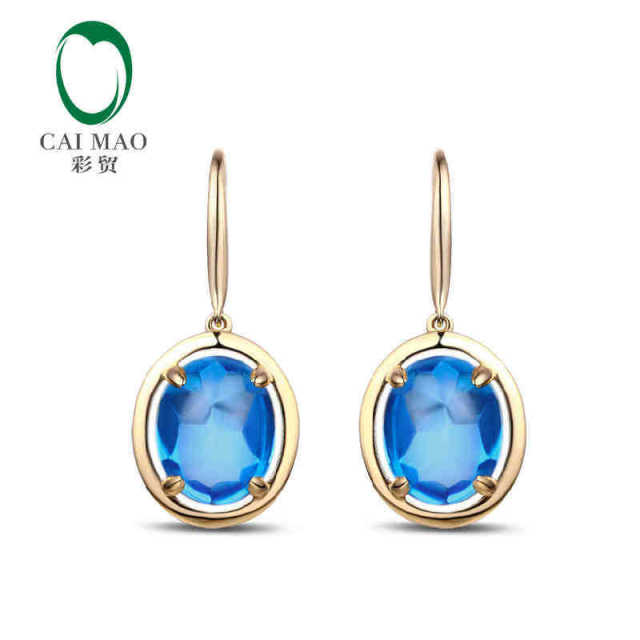 CaiMao 18KT/750 Yellow Gold 7.9 ct Natural Blue Topaz Engagement Gemstone Earrings Jewelry