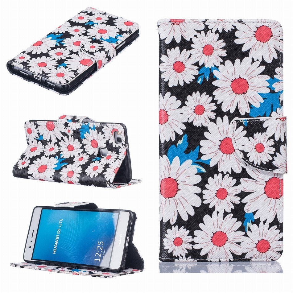 Luxury Case For Huawei P9 Lite 2016 Y3 Y5 Y6 II Y3II Y5II Y6II Honor 8 5x PU Leather Wallet Wiht Silicone Holder Cover New P07Z in Wallet Cases from Cellphones Telecommunications