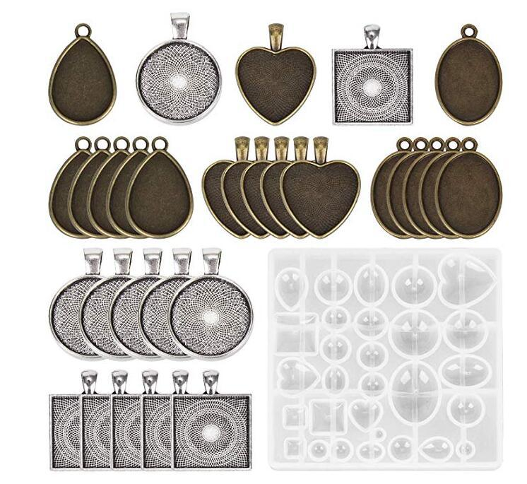 Diamond Epoxy Mold Set With Round Square Love Elliptical Base Jewelry Accesories DIY Hand Craft Resin Pendant Mold