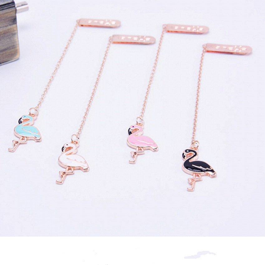 4 Pcs/Set Cute Colourful Flamingo metal Pendant Bookmark Book Holder Message Card Gift Stationery4 Pcs/Set Cute Colourful Flamingo metal Pendant Bookmark Book Holder Message Card Gift Stationery