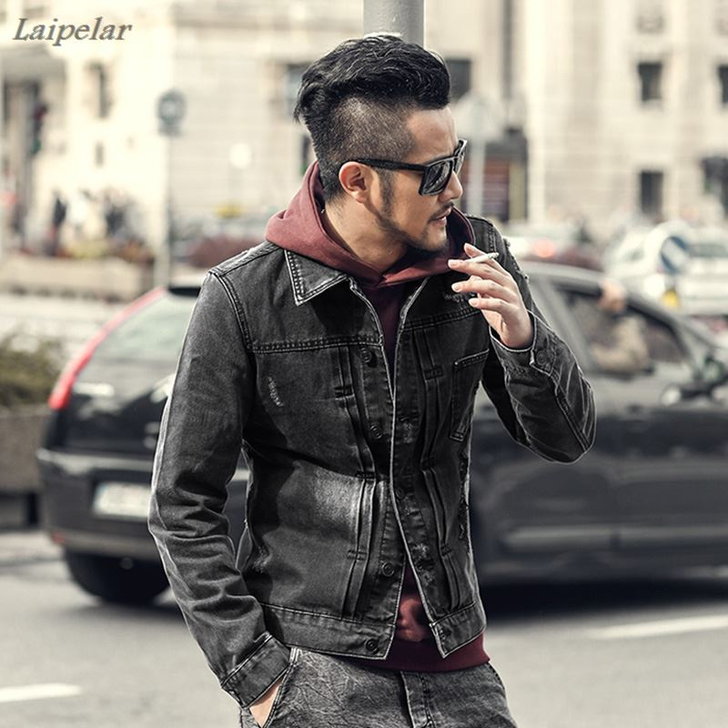 2018 Men Autumn Retro Denim Slim Jeans Jackets Men Casual Holes Fashion Long Sleeve Jackets Men High Quality Laipelar
