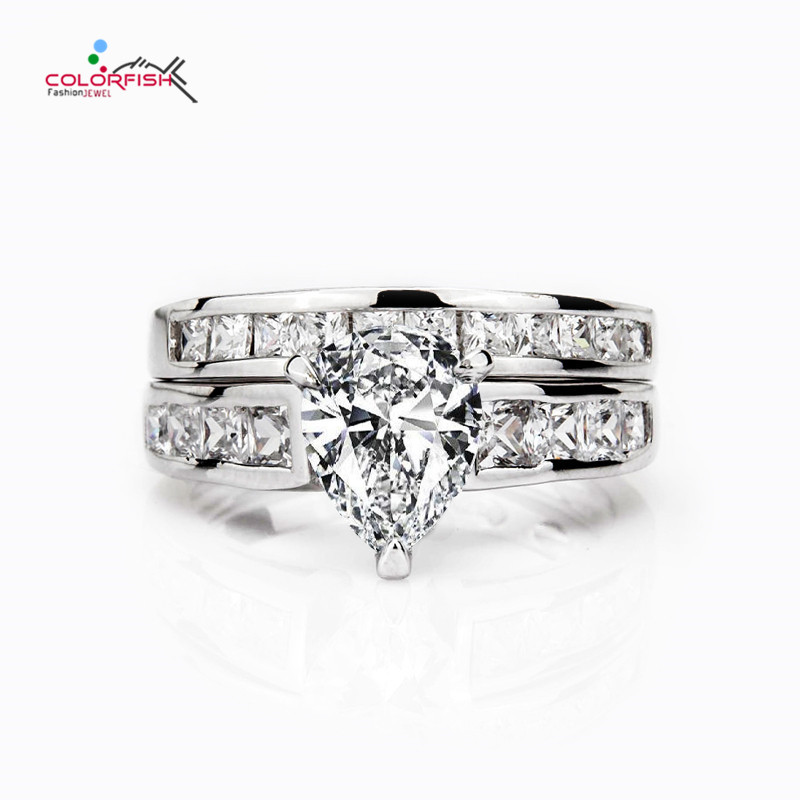 COLORFISH 2 Ct Pear Cut 925 Sterling Silver Engagement Ring Set Classic Silver Wedding Band Jewelry For Women Bridal Gifts peacock star solid sterling 925 silver bridal wedding promise engagement ring set 2 ct pear jewelry cfr8224