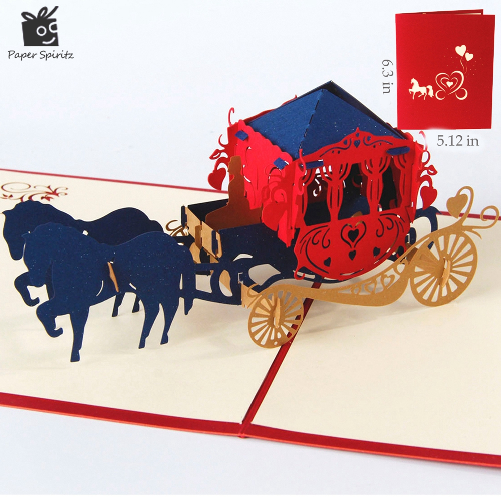 Wedding lnvitations love carriage 3D laser cut paper cutting Greeting Pop Up Kirigami Card Custom postcards
