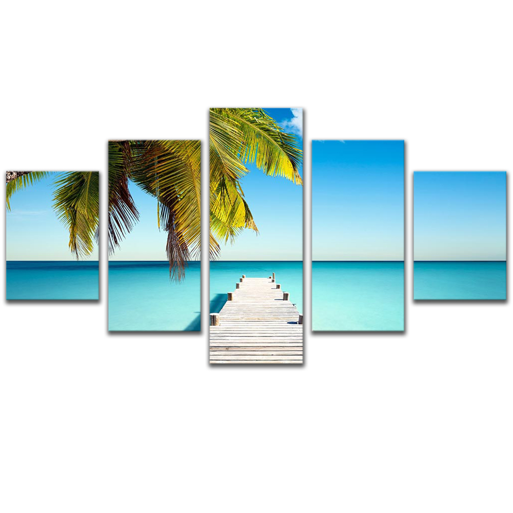 Unframed 5 HD Canvas Prints Boardwalk Ocean Giclee Modular Picture Prints Wall Pictures For Living Room Wall Art Decoration