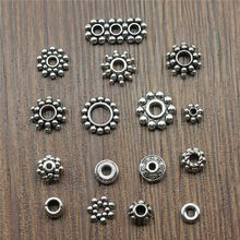 50pcs/lot Antique Silver Color Small Spacer Beads Charm Pendants Jewelry Accessories Diy Small Spacer Beads Charms(China)