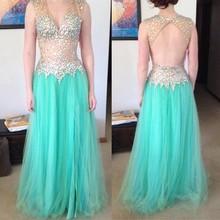 2016 Glamorous A-Line V-ausschnitt Sky Blue Abendkleid Mit Luxus perlen Abendkleid Lange Satin Benutzerdefinierte vestido de festa gala jurken