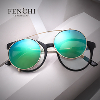 FENCHI 2017 New Cat Eyes Sunglasses Women Double Beam Separable Lens Clear Mirror Lens Vintage Round