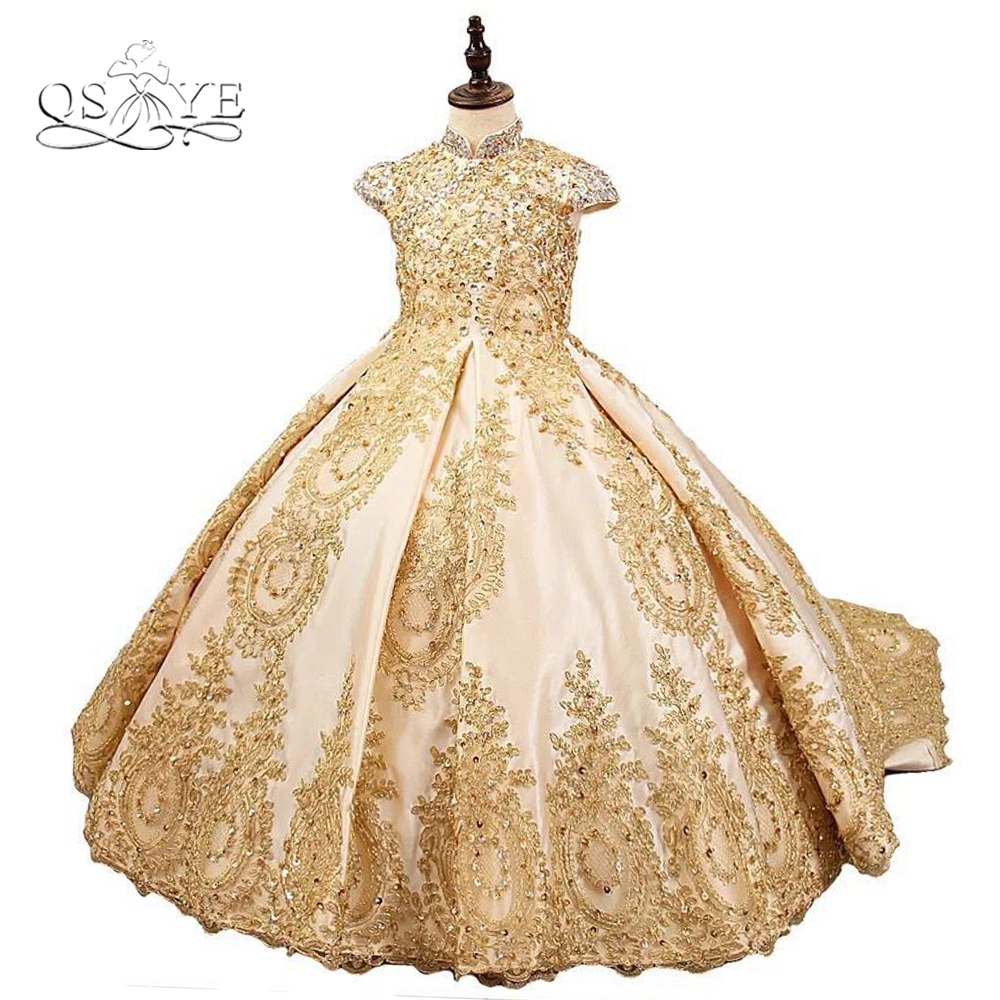 QSYYE 2018 Luxury Lace   Flower     Girl     Dresses   Ball Gown Gold Lace Beaded   Girls   Prom   Dress   Pageant Gown Custom Made